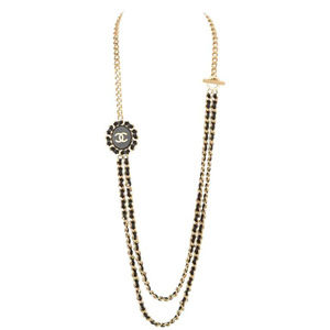 Chanel medallion leather interlaced chain necklace